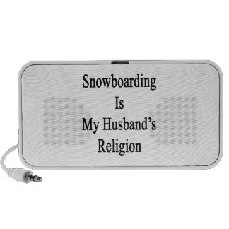 Snowboarding Is My Husband's Religion Laptop Speakers
