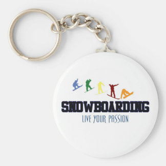 SNOWBOARDING-LIVE YOUR PASSION BASIC ROUND BUTTON KEYCHAIN