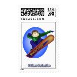 Snowboarding Monkey Postage Stamp