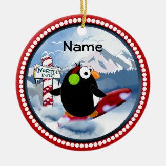 Snowboarding Penguin Ceramic Ornament