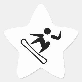 Snowboarding Pictograph Star Sticker