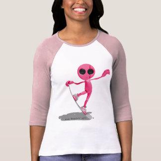 Snowboarding Pink Alien T-Shirt