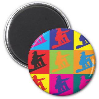 Snowboarding Pop Art 2 Inch Round Magnet