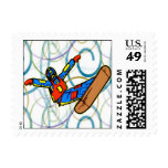 Snowboarding Postage Stamp