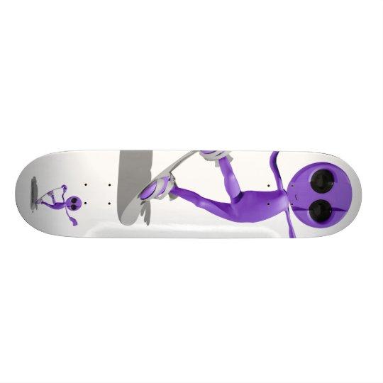 Snowboarding Purple Alien Skateboard