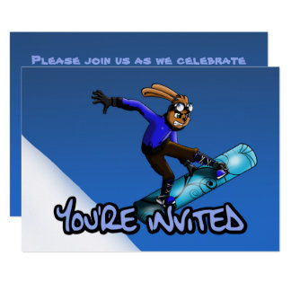 """""""Snowboarding Rabbit Birthday Invitation"""" 7"""" x 5"""" Card"""
