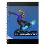 Snowboarding Rabbit Notebook Spiral Notebook