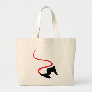 Snowboarding red Track Tote Bags