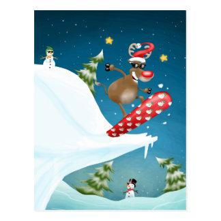 Snowboarding reindeer postcard