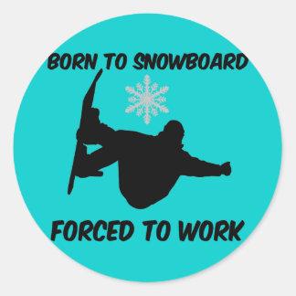 Snowboarding Round Stickers