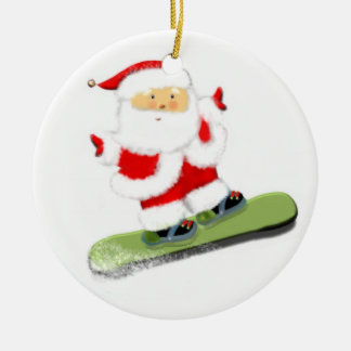 Snowboarding Santa Ceramic Ornament