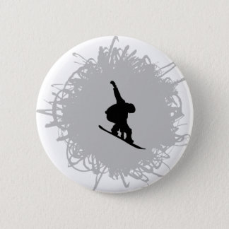 Snowboarding Scribble Style Pinback Button
