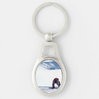 Snowboarding Silver-Colored Oval Metal Keychain