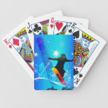 Snowboarding, snowboarder with board bicycle playing cards