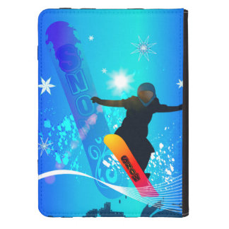 Snowboarding, snowboarder with board on blue backg kindle touch cover