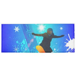 Snowboarding, snowboarder with board on blue backg tyvek® billfold wallet