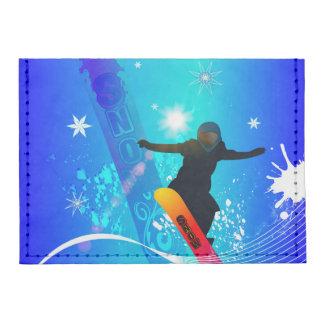 Snowboarding, snowboarder with board on blue backg tyvek® card wallet