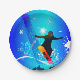Snowboarding, snowboarder with board on blue backg paper plate