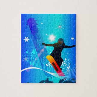 Snowboarding, snowboarder with board puzzle