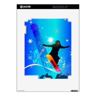 Snowboarding, snowboarder with board decal for the iPad 2