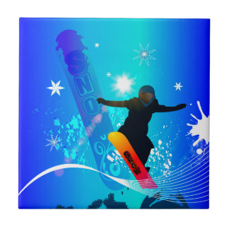 Snowboarding, snowboarder with board ceramic tile