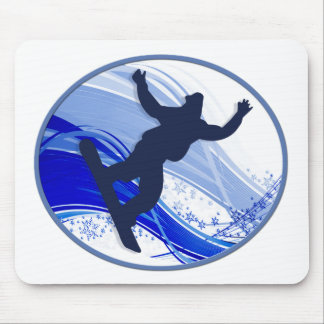 Snowboarding & Snowflakes Mouse Pad
