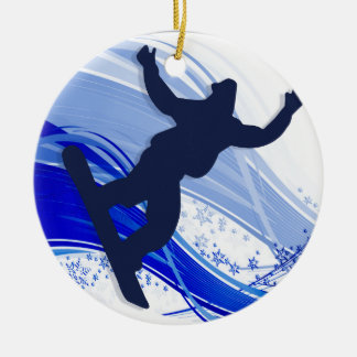 Snowboarding & Snowflakes Ornament