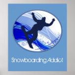 Snowboarding & Snowflakes Print
