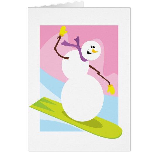 Snowboarding Snowman Card