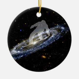 Snowboarding the Andromeda Galaxy. Ceramic Ornament