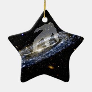 Snowboarding the Andromeda Galaxy. Ceramic Ornament
