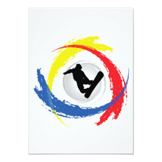 Snowboarding Tricolor Emblem Card