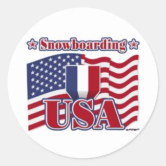 Snowboarding USA Classic Round Sticker