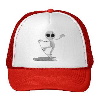 Snowboarding White Alien Hat