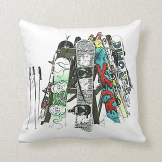 Snowboards in the snow throw pillow