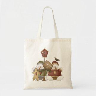 Snowbodies' Home Snowman Winter Scene Canvas Bags