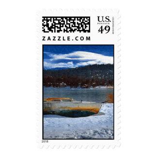 Snowbound Boat, Big Bear Lake, CA Postage Stamp