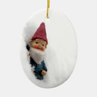 Snowbound Hector Double-Sided Oval Ceramic Christmas Ornament