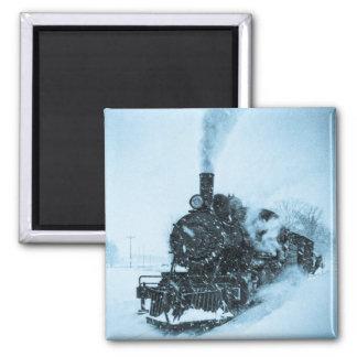 Snowbound Train Vintage 2 Inch Square Magnet