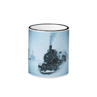 Snowbound Train Vintage Ringer Mug