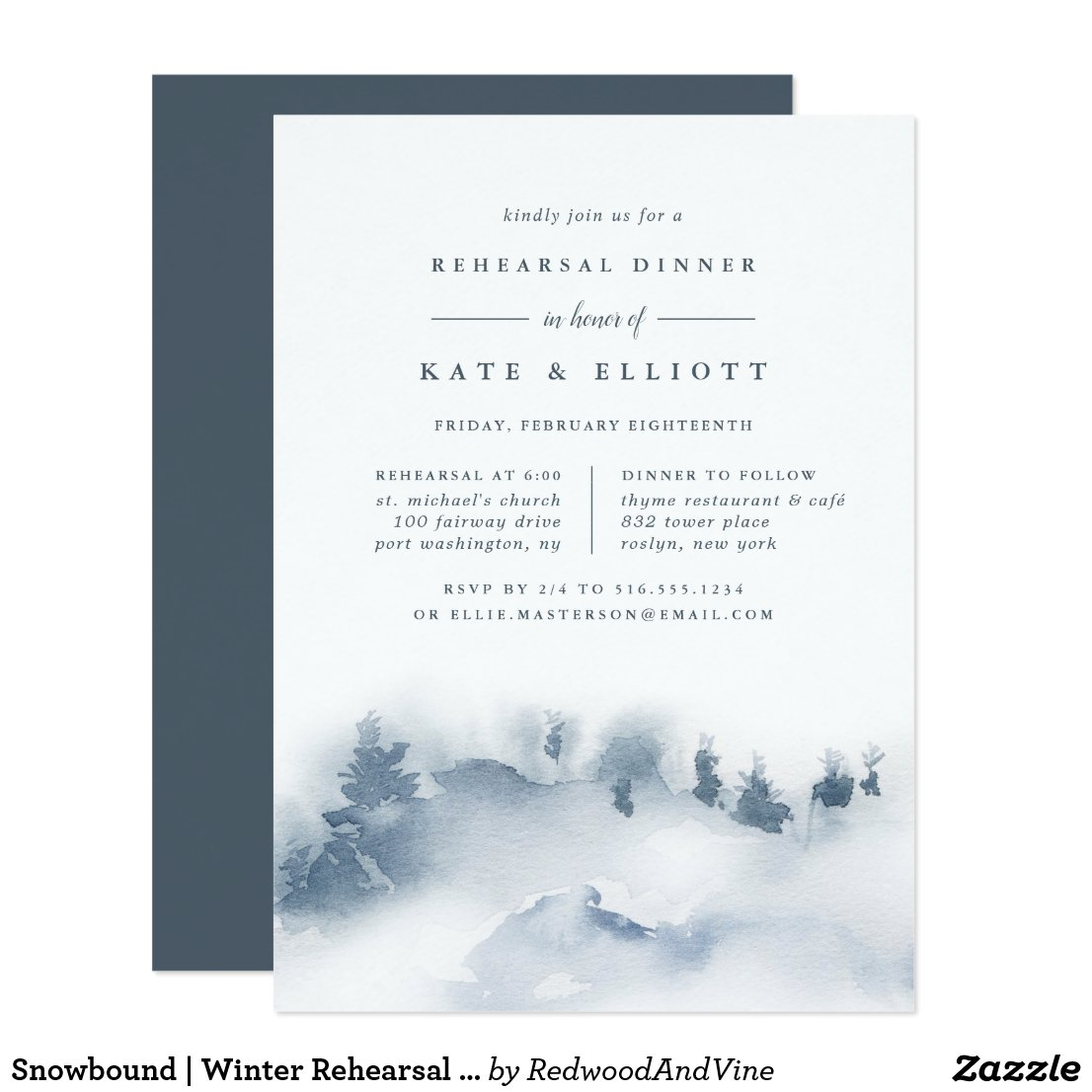 Snowbound | Winter Rehearsal Dinner Invitation