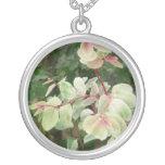 snowbush plant colorful leaves background personalized necklace