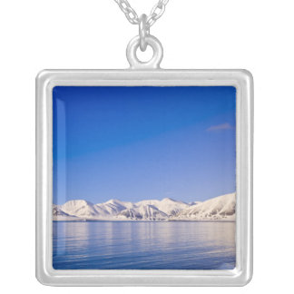 Snowcapped peaks Woodfjord Svalbard Silver Plated Necklace