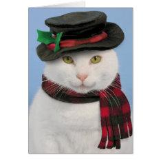 Snowcat Christmas Card at Zazzle