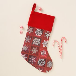 Snowcatcher Snowflakes on Red Christmas Stocking