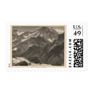 Snowclad mountains postage stamps