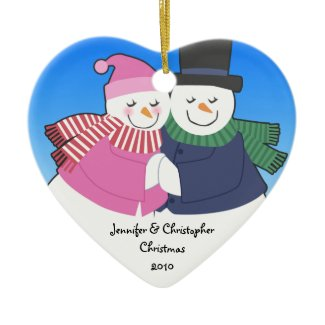 Snowcouple Heart Personalized Holiday Ornament ornament