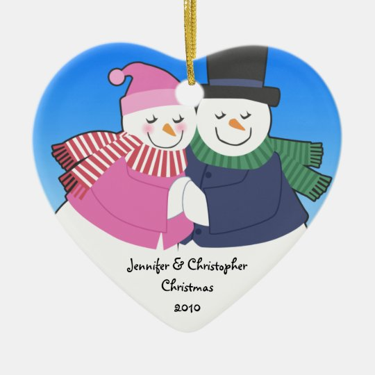 Snowcouple Heart Personalized Holiday Ornament