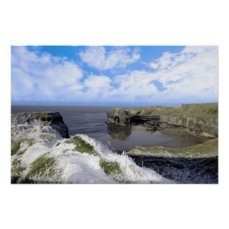 snowcovered coastal beach view and virgin rock poster