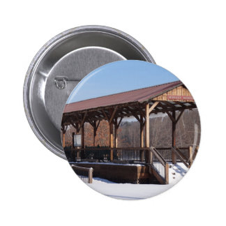 Snowcovered Hawley Train Station 2 Inch Round Button